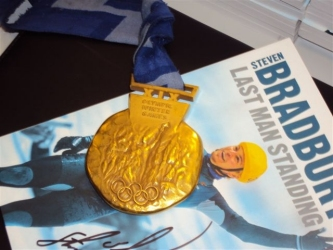 Steven Bradbury medal and  last man standing book
